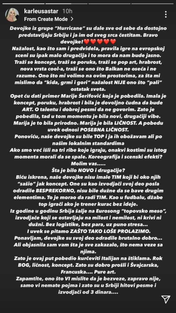 Karleuša - status objavljen na njenom IG profilu (story)